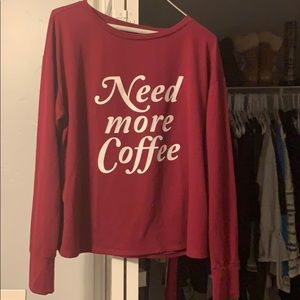 "Express ""Need More Coffee"" Shirt. Size Medium"